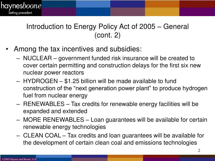 Introduction to Energy Policy Act of 2005 – General