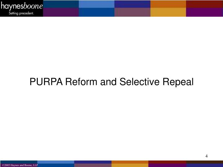 PURPA Reform and Selective Repeal