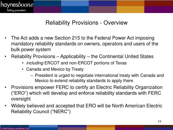 Reliability Provisions - Overview