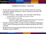 reliability provisions overview