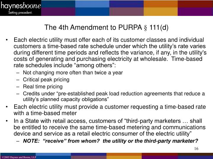 The 4th Amendment to PURPA § 111(d)