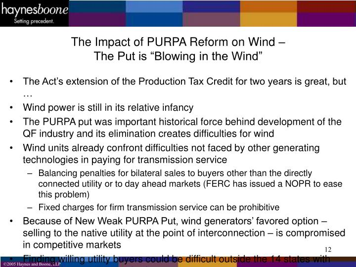 The Impact of PURPA Reform on Wind –