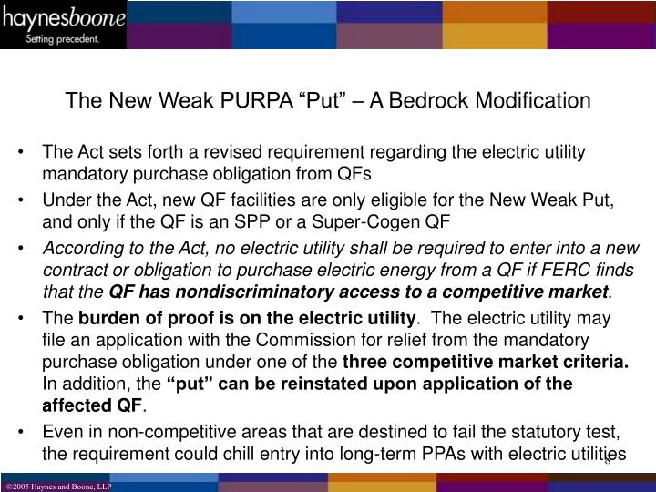 "The New Weak PURPA ""Put"" – A Bedrock Modification"