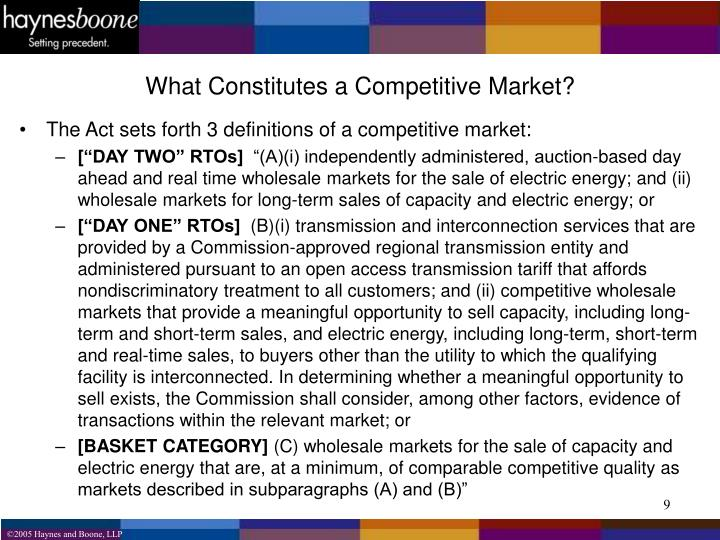 What Constitutes a Competitive Market?