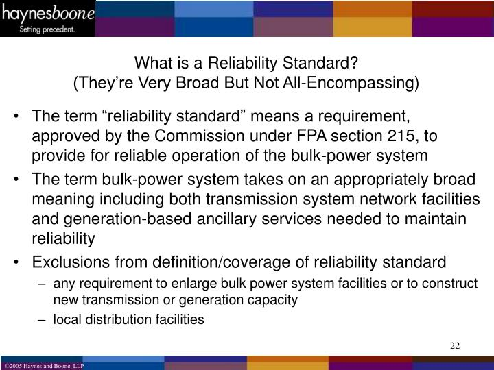 What is a Reliability Standard?