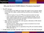 why are the act s purpa reform provisions important