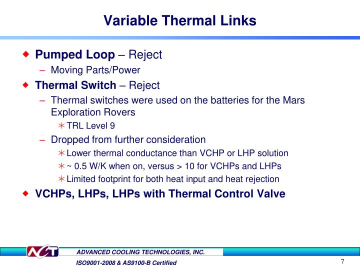 Variable Thermal Links