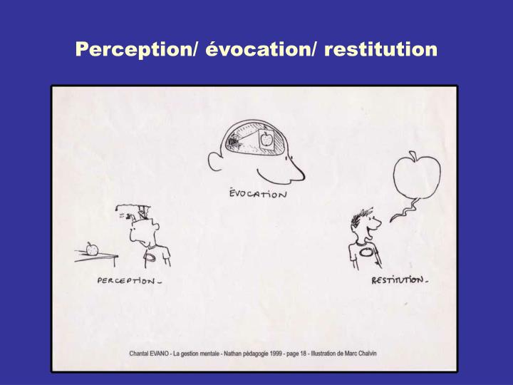 Perception/ évocation/ restitution