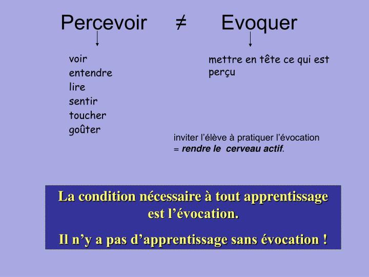 Percevoir     ≠      Evoquer