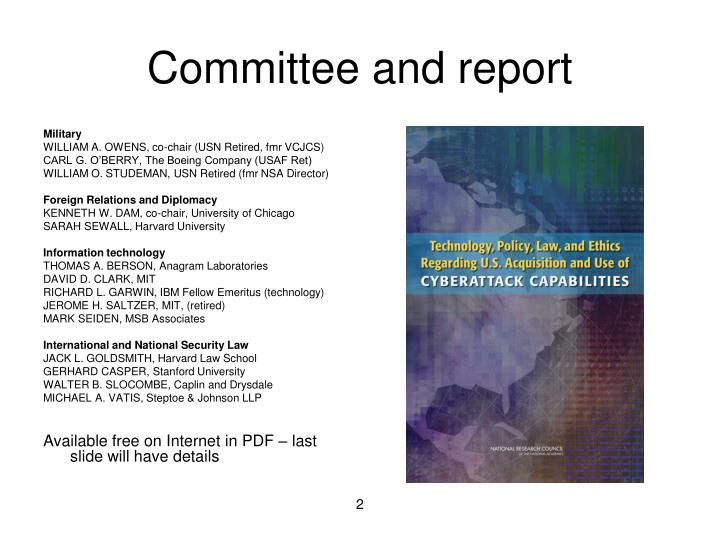 Committee and report