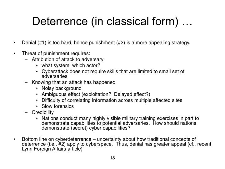 Deterrence (in classical form) …