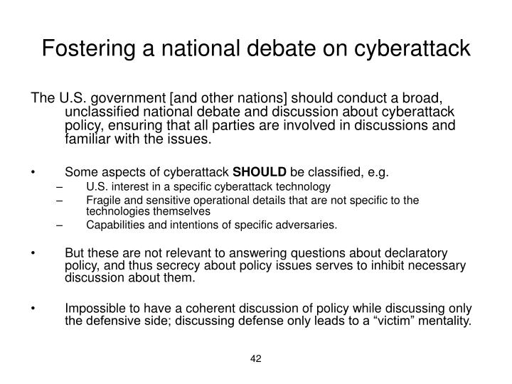 Fostering a national debate on cyberattack