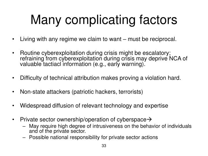 Many complicating factors