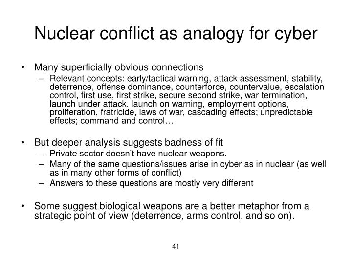 Nuclear conflict as analogy for cyber