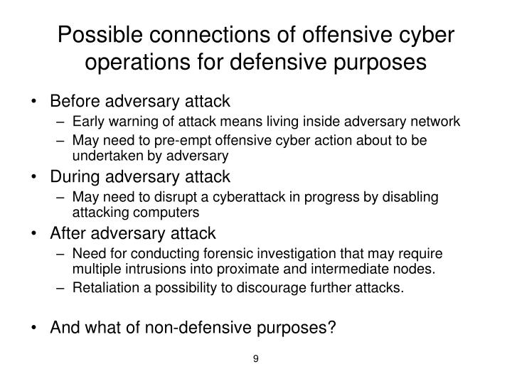 Possible connections of offensive cyber operations for defensive purposes