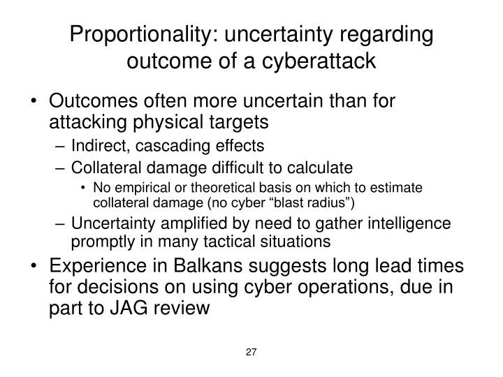 Proportionality: uncertainty regarding outcome of a cyberattack
