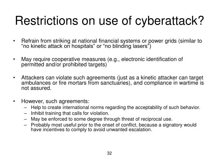Restrictions on use of cyberattack?