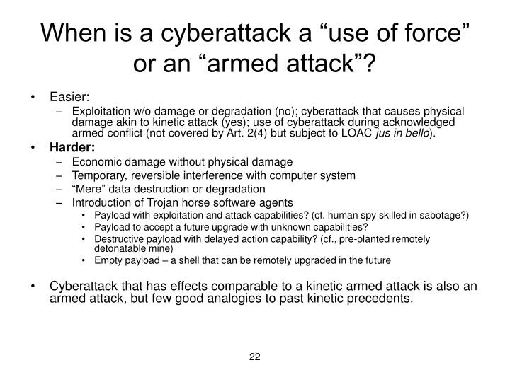 "When is a cyberattack a ""use of force"" or an ""armed attack""?"