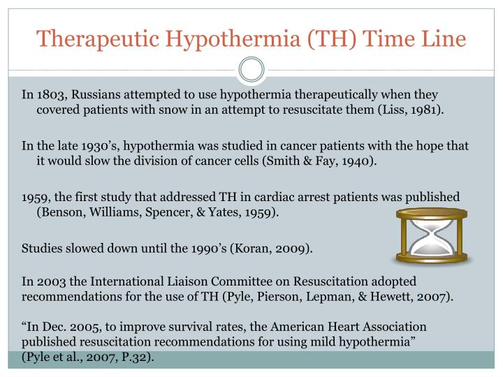 Therapeutic hypothermia th time line