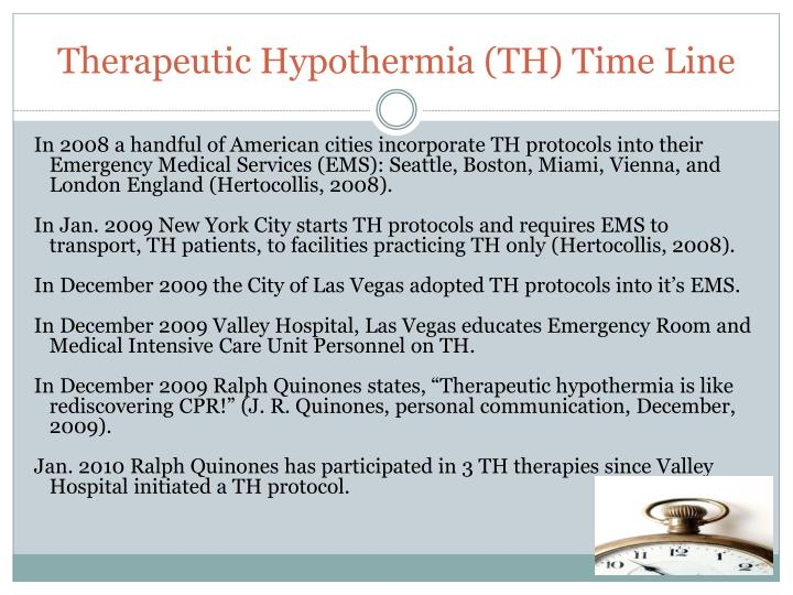 Therapeutic Hypothermia (TH) Time Line