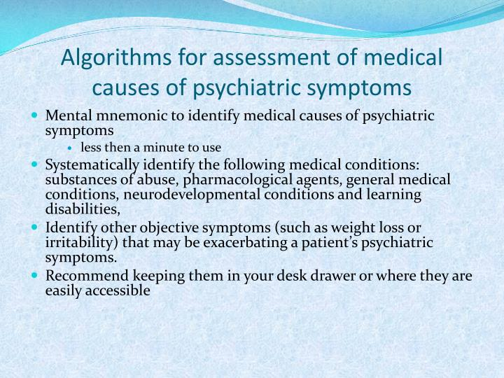 Algorithms for assessment of medical causes of psychiatric symptoms