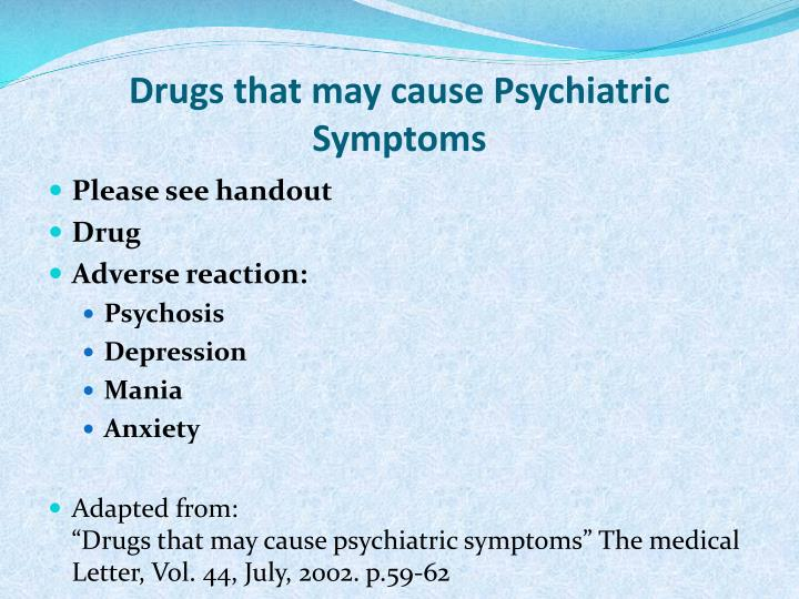 Drugs that may cause Psychiatric Symptoms