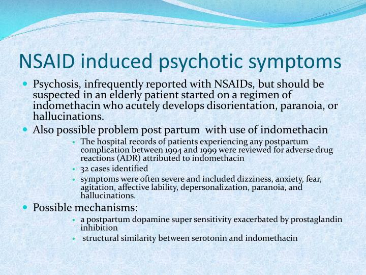 NSAID induced psychotic symptoms