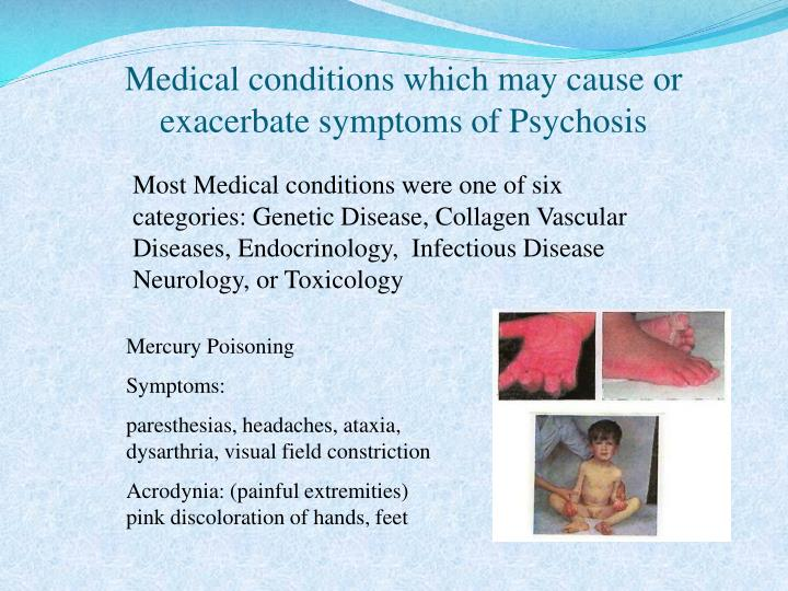Medical conditions which may cause or exacerbate symptoms of Psychosis