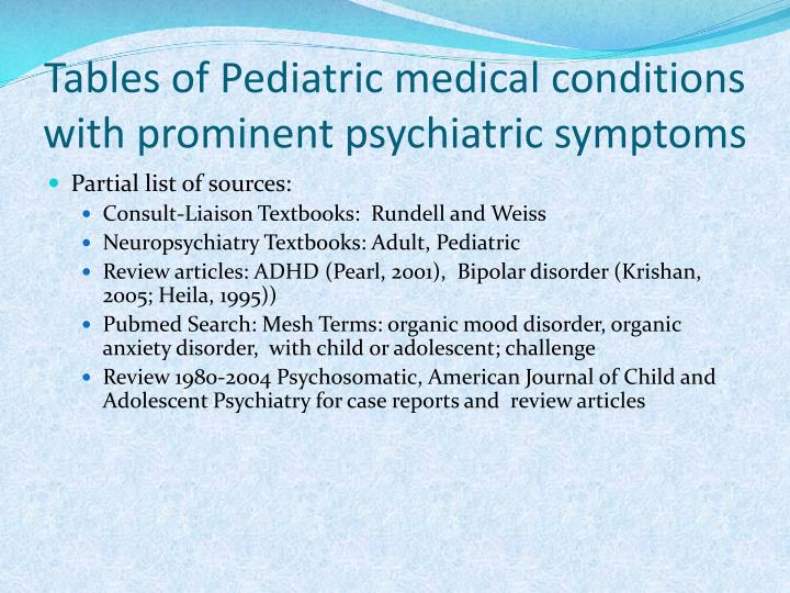 Tables of Pediatric medical conditions with prominent psychiatric symptoms
