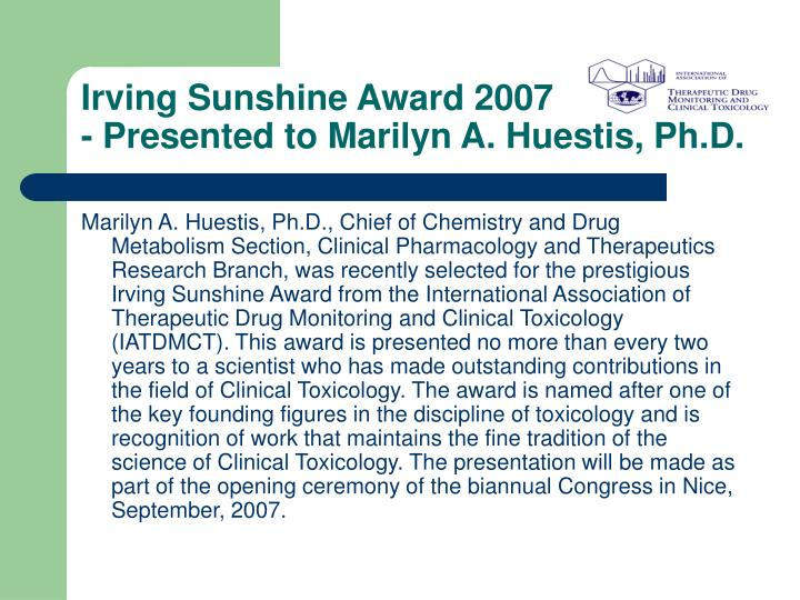 Irving Sunshine Award 2007