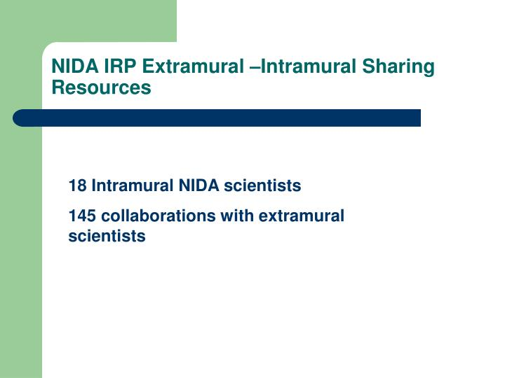 NIDA IRP Extramural –Intramural Sharing Resources