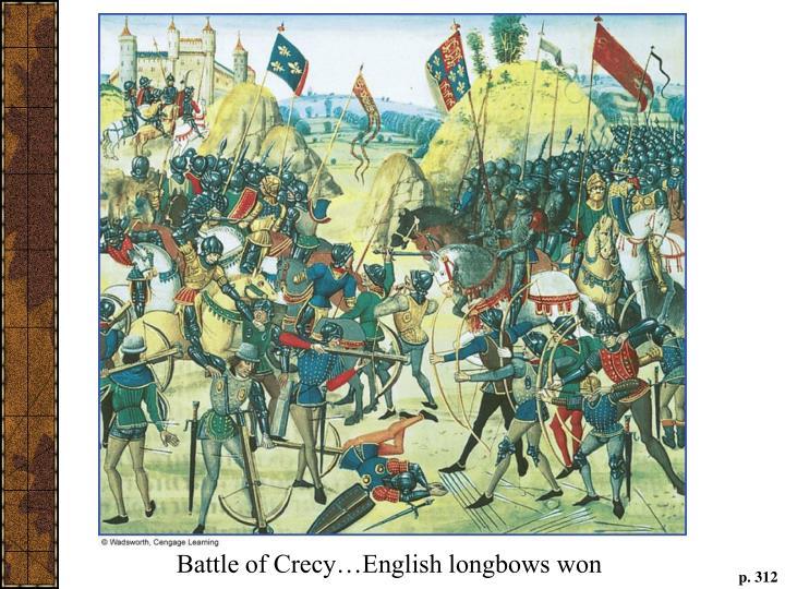 Battle of Crecy…English longbows won