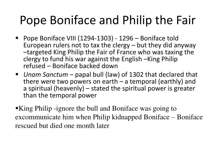 Pope Boniface and Philip the Fair