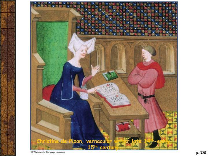 Christine de Pizan, vernacular writer late 14