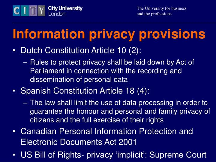 Information privacy provisions
