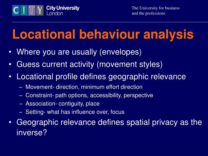Locational behaviour analysis
