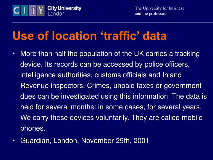 Use of location 'traffic' data