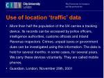 use of location traffic data