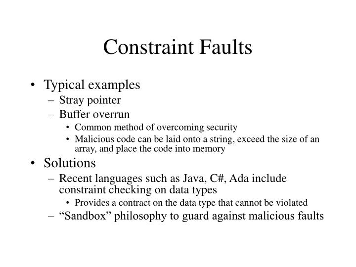 Constraint Faults
