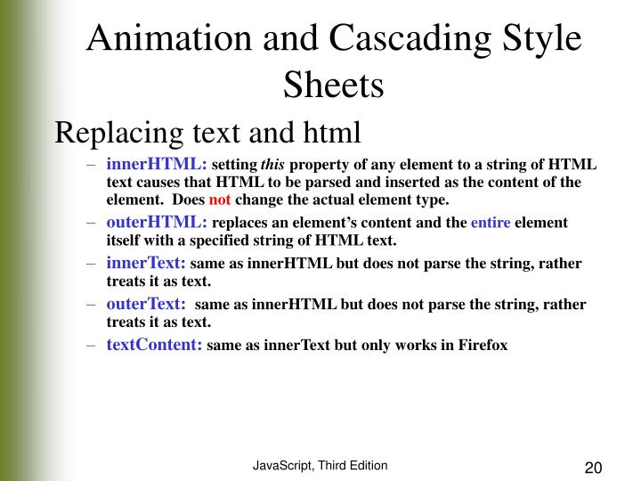 Animation and Cascading Style Sheets