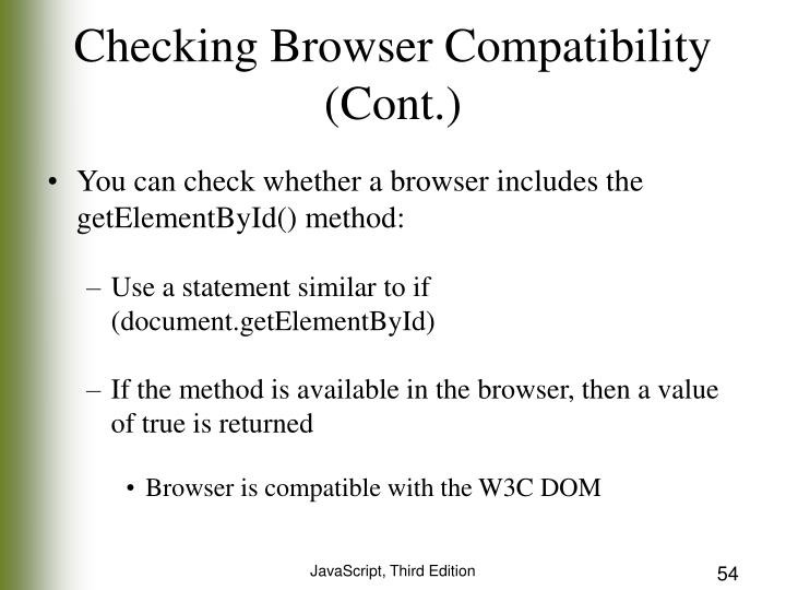 Checking Browser Compatibility