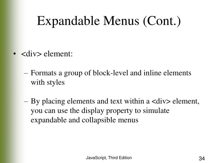 Expandable Menus