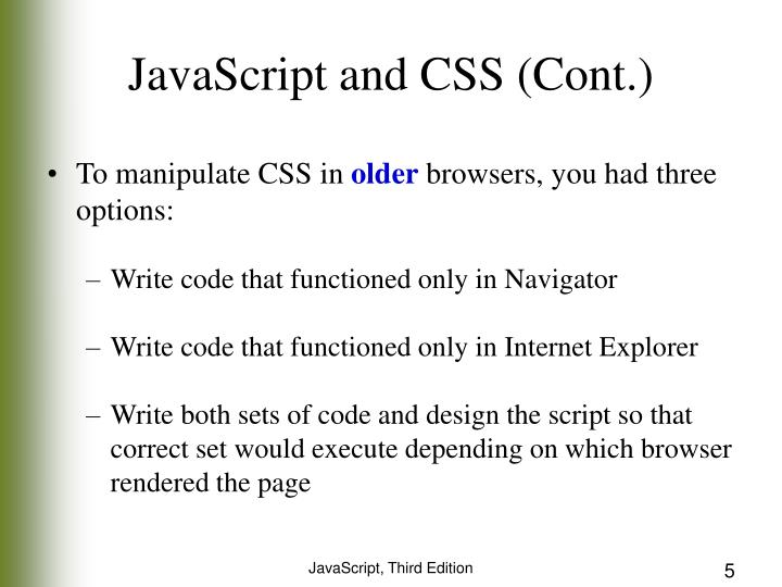 JavaScript and CSS (Cont.)