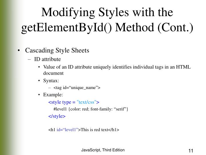 Modifying Styles with the getElementById() Method (Cont.)
