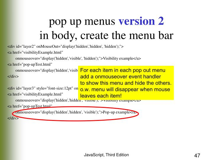 For each item in each pop out menu