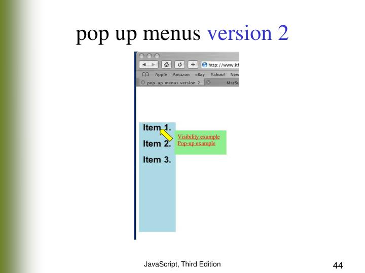 pop up menus