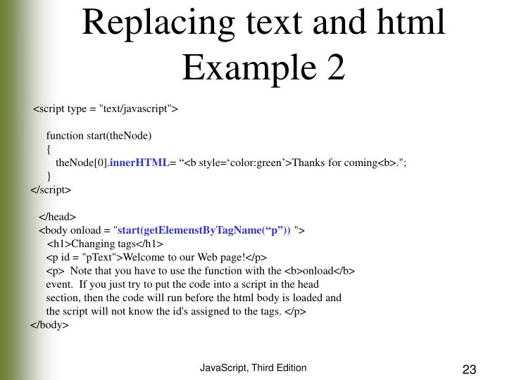 Replacing text and html
