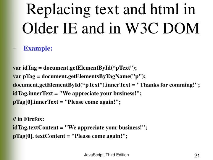 Replacing text and html in Older IE and in W3C DOM