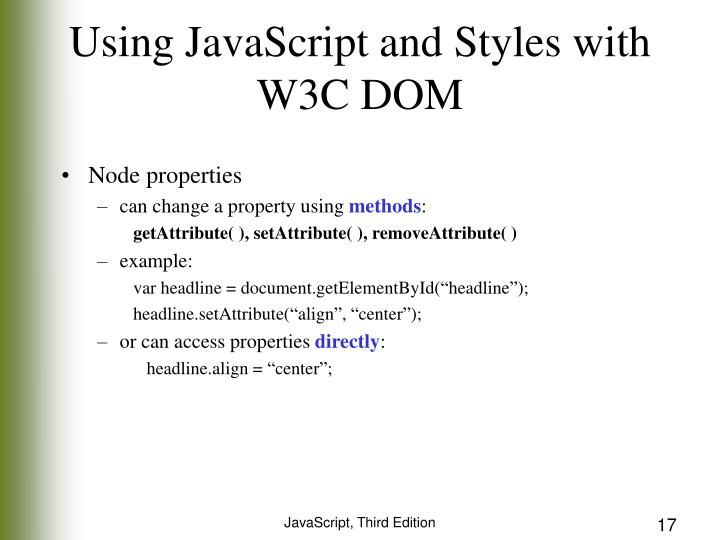 Using JavaScript and Styles with W3C DOM