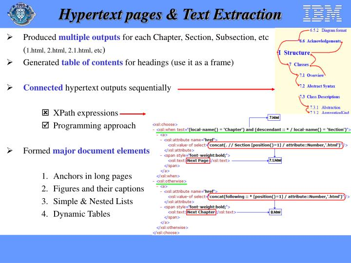 Hypertext pages & Text Extraction